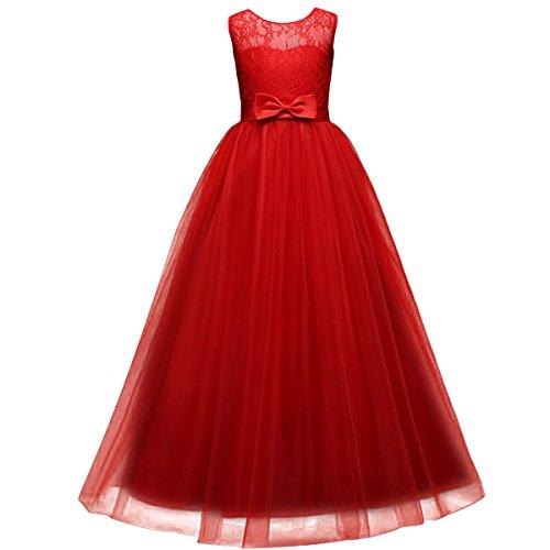 Kleider Blumenmädchenkleider Hochzeitskleid Maxikleid Festlich Brautjungfern Kleid Prinzessin Hochzeit Abendkleid Party Kleid Spitze Spleiß Chiffon Festzug Cocktailkleid Rot (Mädchen Party Kleider Rot)
