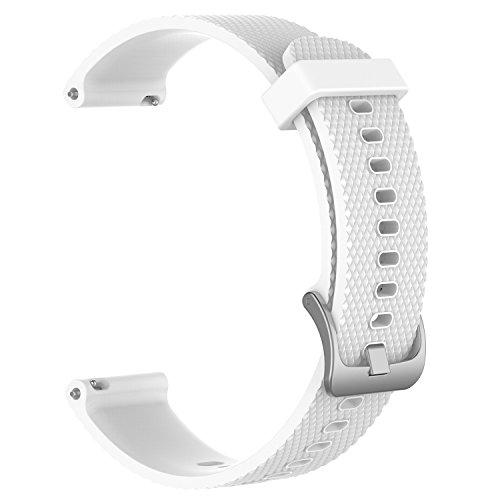 Photo Gallery fasce di ricambio per garmin vivoactive 3 / vivomove / vivomove hr fitness watch cinturino in silicone morbido regolabile da 20 mm cinturino accessorio con sgancio rapido (bianco, l)