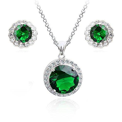 Crystalline Azuria Grüner simulierter Smaragd Zirkonia Kristalle Rund Schmuck-Set Halskette Anhänger 45 cm Ohrstecker Ohrringe 18 kt Weiß Vergoldet