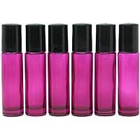 YOOHO-Bottiglie di vetro, in acciaio INOX con sfera ricaricabile, oli essenziali per aromaterapia, motivo boccette di profumo, ricaricabile, sottile, con sfere in metallo e coperchio in plastica, colore: viola