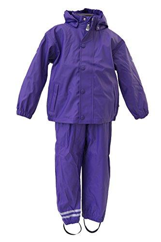 mikk-line Mädchen Jacke PU Rainwear-Set Regenhose und Regenjacke Wassersäule 8000, Violett (Dark Violet 741), 140