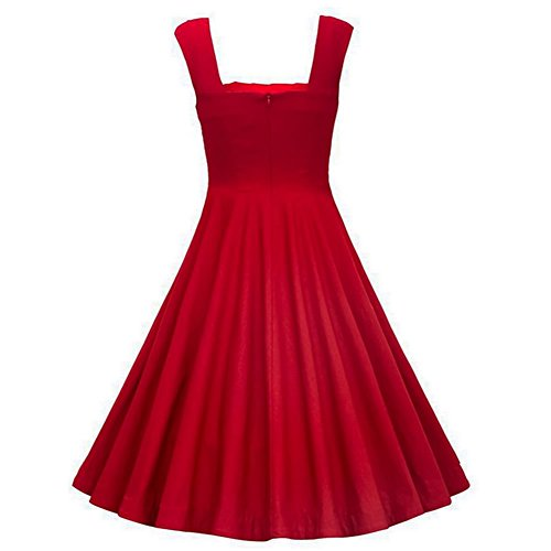 Dissa Damen 50er Retro Cocktail Vintage Rockabilly Kleid,Rot 1235-Rot