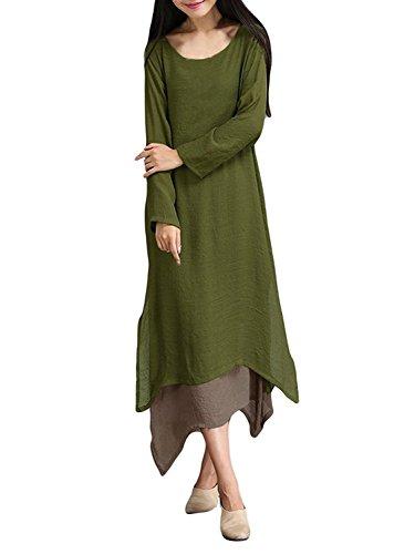 Minetom Donne Ragazze Retrò Lungo Vestito Raddoppiare Strato Orlare Tondo Collo Maxi Vestito Verde Militare 54