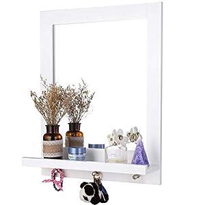 Homfa 60x47cm Wandspiegel mit Ablage und 3 Haken Badspiegel Hängespigel Spiegel für Badezimmer Wohnzimmer Diele Flur Holz weiß