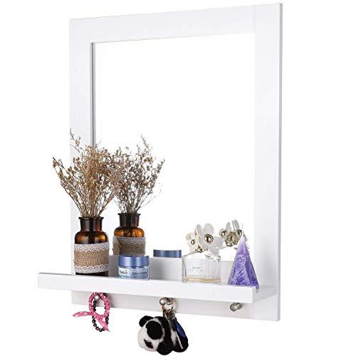 Homfa 60x47cm Wandspiegel mit Ablage und 3 Haken Badspiegel Hängespigel Spiegel für Badezimmer Wohnzimmer Diele Flur Holz weiß -