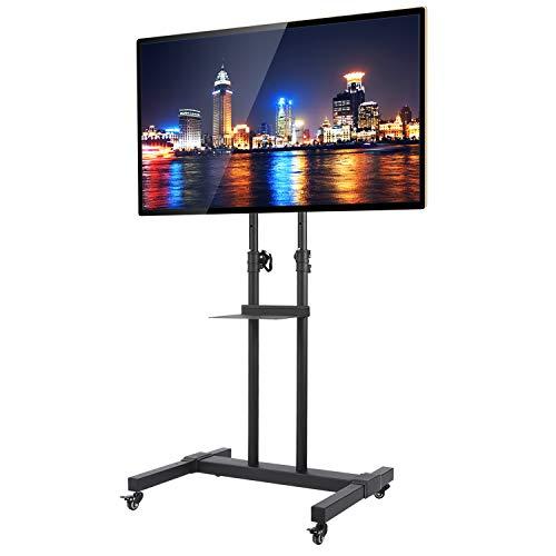 RFIVER Universal Mobil TV Ständer mit Rollen Höhenverstellbar Neigbar Möbel Meetingraum Konferenzraum für 32-70 Zoll Schwarz Max. 50 kg MT1001 -