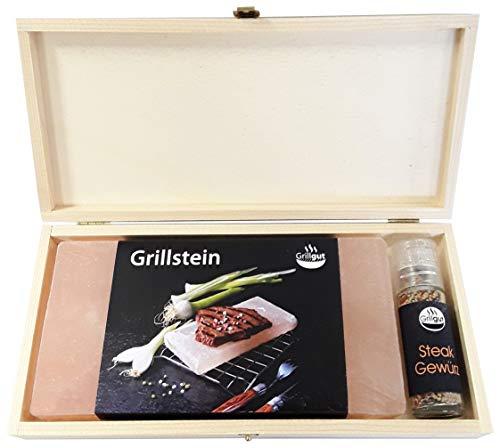 GRILLGUT* Salzstein mit Taschenmühle *Steakgewürz* in Geschenk-Holzbox zum Grillen - Hochwertiger BBQ Salz Grillstein für einen besonderen Geschmack - Salzplanke zum Grillen