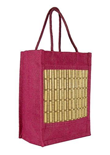 Saffron Craft Jute Lunch Bag (MAROON)