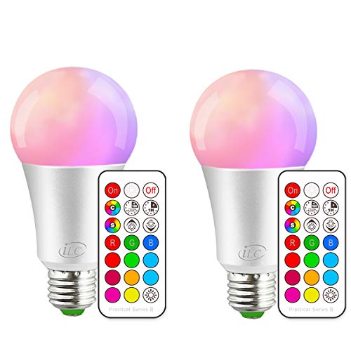 iLC Farbige Leuchtmittel LED RGBW Lampe Edison Dimmbare Farbige Leuchtmitte Lampen 10W E27 RGB LED Birnen- Dual Memory - 12 Farben - Kabellos Fernbedienung inklusive (2-er Pack) -