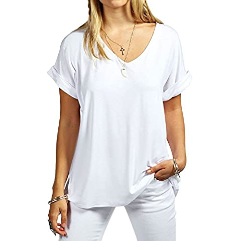 Womens Baggy Fit V Neck Top Ladies Turn Up Loose