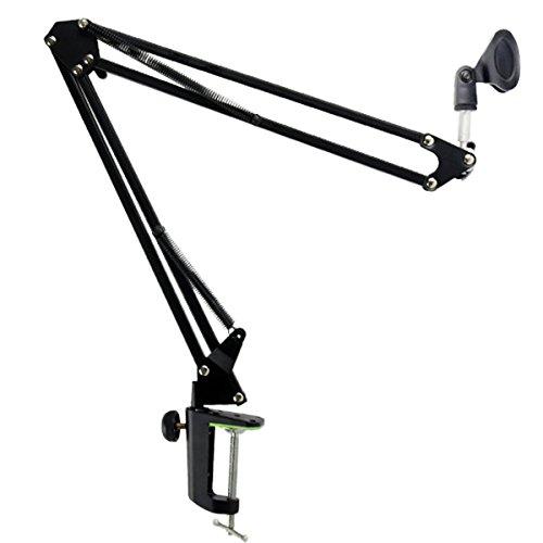 ROSENICE Rundfunk Studio Mikrofon Mic Aussetzung Boom Scissor Arm Ständer (schwarz)