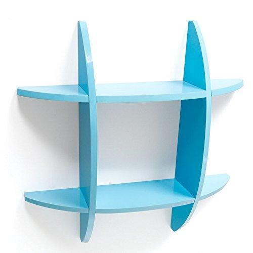 PEGANE Étagère Cube Murale Bibliothèque en Bois laqué Brillant Bleu, Dim : 60 x 60 x 11 cm