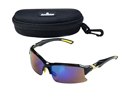 Titan Cricket Brillen Sonnenbrille Schwarz Gelb Rand Kunststoff Rahmen Rainbow Objektive, schwarz / gelb