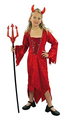 Kostüm Devil Girl Samt Rote Größe 8bis 10Jahre-Der Karneval