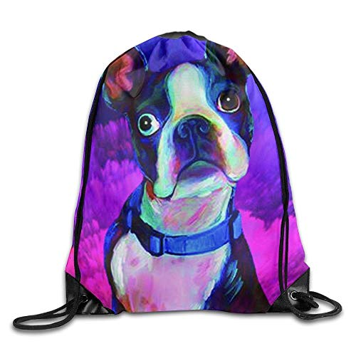 ZHIZIQIU Funny Boston Terrier Unisex Drawstring Backpack Travel Sports Bag