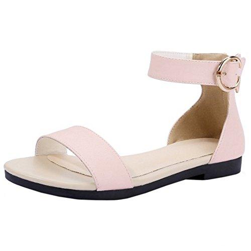 TAOFFEN Damen Simple Elegant Flach Buckle Strap Sandalen Beach Shoes 597 Pink