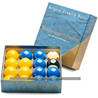 Aramith Super Pro Cup League Pool Balls - Blue and Yellow (2 Inch with 1 7/8 Inch White)