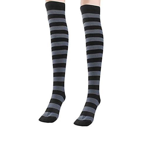 Mode, chaud, confortable! Reaso Femmes fille Zebra Stripe Bas, (Gris)
