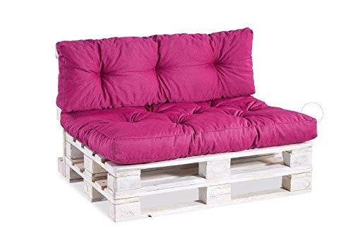 Palettenkissen Palettenauflagen Sitzkissen Rückenlehne Gesteppt (Set (Sitzkissen 120x80 +Rückenlehne 120x40), Pink)