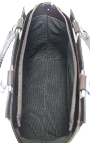 CTM Borsa Donna a Mano Elegante da Sera, 34x26x14cm, Vera Pelle 100% Made in Italy Moro