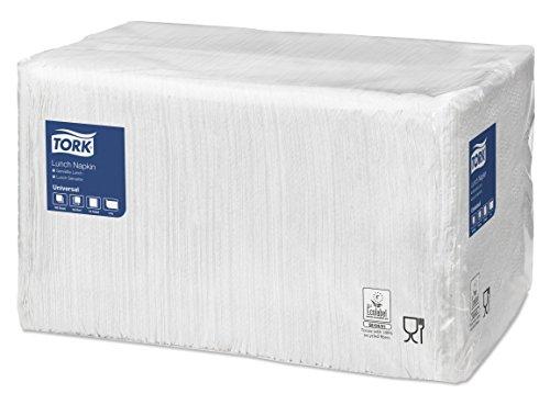 Tork 478553 Lunchserviette Weiß 1-lagig / Bewährte Leistung für Bedarf in Imbissen & Schnellrestaurants / Universal Qualität / 9 x 500 (4500) Papierservietten / 32 x 33 cm (B x L) / 1/4-Falz