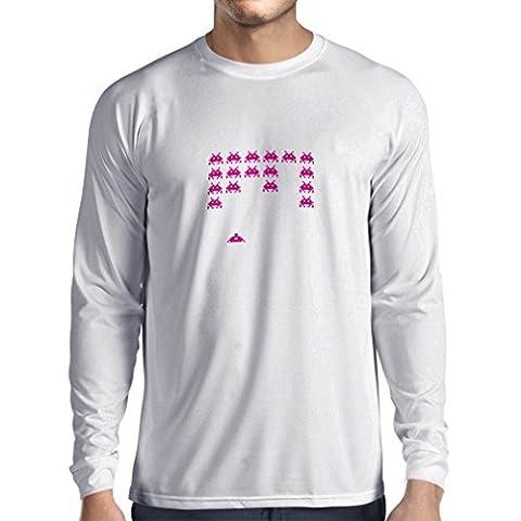 T-shirt à manches longues T-shirts drôles de gamer de cadeaux de gamer de maniacs vintages de PC (Small Blanc Magenta)
