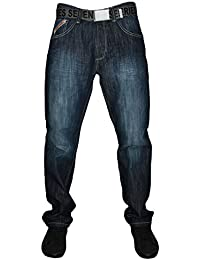"""MENS SEVEN SERIES STRAIGHT LEG DARK STONE BELTED JEANS IN WAIST 40 TO 56"""", L 29-31-33"""