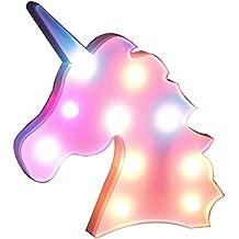 AIZESI Unicornio luz de noche, lámparas LED de unicornio, marquesina, funciona con pilas