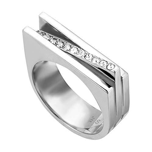 ESPRIT Damenring Luna Edelstahl Silber ESRG001821 Zirkonia, Ringgröße (Durchmesser):51 (16.2 mm Ø)