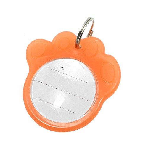 sourcingmap® Metall-fuß Haustier Nachtlicht Marke Katze Hund Personalisiert Halsband Abzeichen Schlüsselanhänger Orange