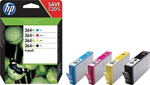 Hp 364xl (n9j74ae) cartucce originali per stampanti a getto di inchiostro hp photosmart b210c, b110c, b110e, b8550, 7520, deskjet 3520, 3522, 3524, confezione da 4, nero, ciano, giallo, magenta