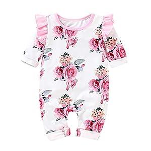 XXYsm Baby Mädchen Overall Babybody Strampler Blumen drucken Rüschen Jumpsuit