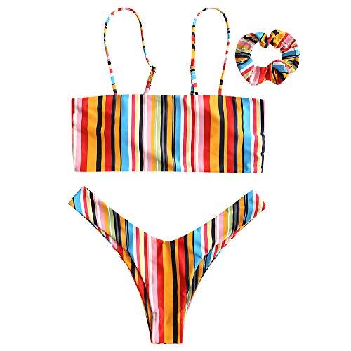 ZAFUL Damen Regenbogen Gestreifter Bikini Set Gepolsterte Bademode Badeanzug mit Haarband Zweiteilig Mehrfarbig Small