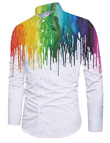 RAISEVERN Mens Hawaiihemd Langarm Stag Beach Holiday Kostüm Shirt Weiß Malerei