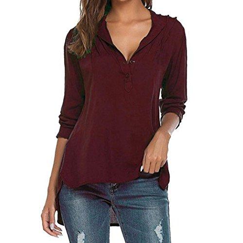 Longra Damen Elegante Oberteile Langarm Shirt V-Ausschnitt T-Shirt Hemdbluse Top mit Falten Lose Freizeit Basic Casual Shirt Damen New Mode Hemd Shirt Tunika Blusenshirt (Red, 2XL) (Stretch-blazer Knopf-manschette -)