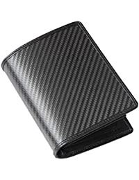 3facf0a7f NaXinF Cartera de Alta Gama Impermeable Billetera de Cuero de Fibra de  Carbono Juvenil para Hombre – Cartera de…
