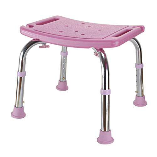 WANNA.ME Badehocker duschstuhl Sitz Dicke rutschfeste höhenverstellbare ältere Bad Bank Haushalt Bad wc behinderte Erwachsene, 43 * 39 * 34-44 cm (Farbe: pink) (Wc-bank)