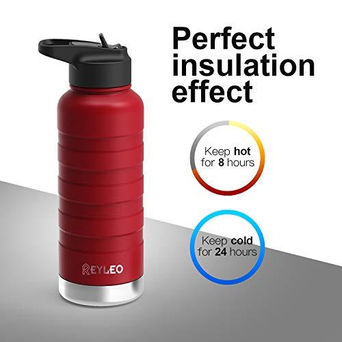 REYLEO Bottiglia Acqua Termica Rosso 500ML Acciaio Inox con Isolamento Doppia Parete 2 coperchi Borraccia Termica Senza BPA Isolato Bottiglia