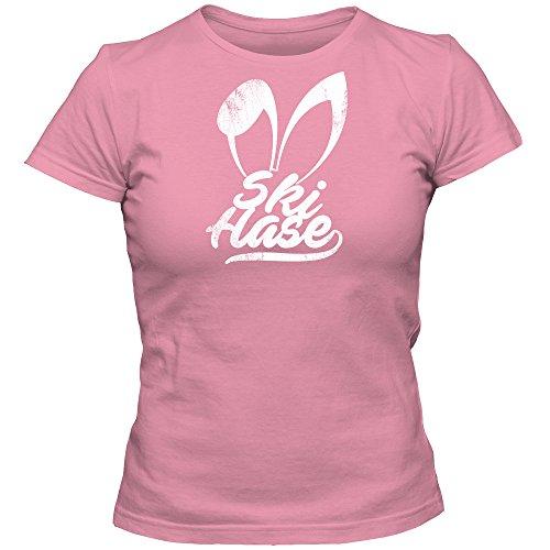 Skihase #2 T-Shirt | Damen | Winter | Weihnachten | Sport | Urlaub | Weihnachtsfeier | Damenshirt, Farbe:Pink (Orchid Pink L191);Größe:M