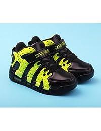 aemember Boys 'zapatos ETTE Otoño Invierno comodidad Zapatillas botas botines/tobillo botas para Casual negro/verde negro/rojo y negro/blanco azul, US3 / EU34 / UK2 Little Kids, Black/Green
