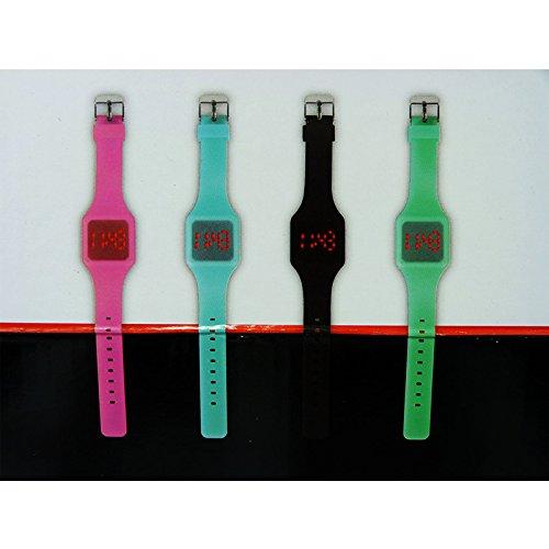 Unbekannt Touch Watch Damen Herren LED Armbanduhr Digitaluhr Touchscreen Silikonband (Pink)