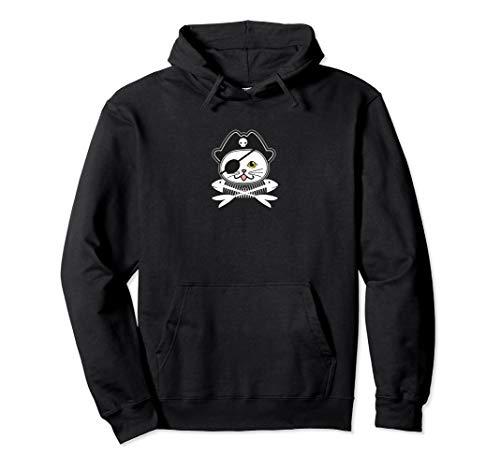 Süße Piraten Augenklappe Katze Einfaches Halloween Kostüm Pullover Hoodie (Einfache Schwarze Katze Kostüm)