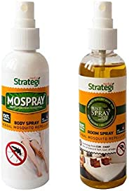 STRATEGI Herbal JustSpray Mosquito Repellent Room Spray and Mospray Body Spray, 100ml (Yellow and White) - Pac