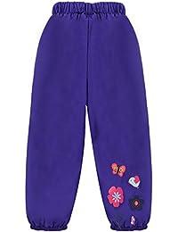 LZH Pantalones para Niña Impermeable Estampado de Flores Pantalones