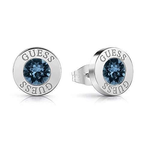 Guess-Ohrringe glänzende Kristalle blau chirurgischer Edelstahl rhodiniert UBE78091 [AC1146]