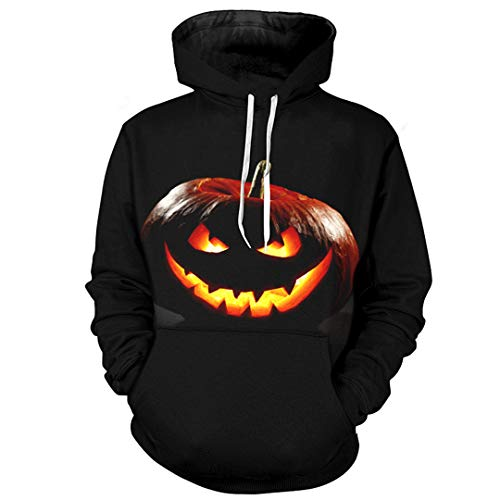 Halloween Männer/Frauen 3D Hoodies Kürbis Print Kapuzenpullis Lustige Coole Sweatshirts Schwarz Streetwear 5XL Photo Color M