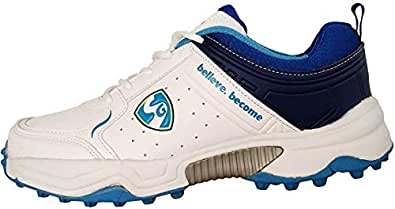 SG Club-Pro Rubber Cricket Spike Shoes with Front Toe Protector -4 UK (White/Aqua)