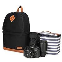 Kattee Camera Backpack, DSLR SLR Photography Bag Rucksack with Rain Cover(Black)