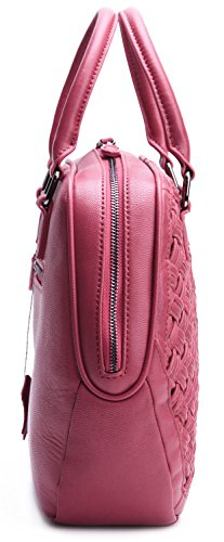 borgasets Damen Woven Dekoration Handtasche Rot