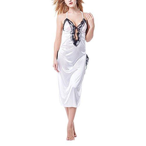 Bornbayb Frauen Satin lange Chemise Nachthemd Halter Lace Dessous Nachtwäsche (Satin Chemise Langes)